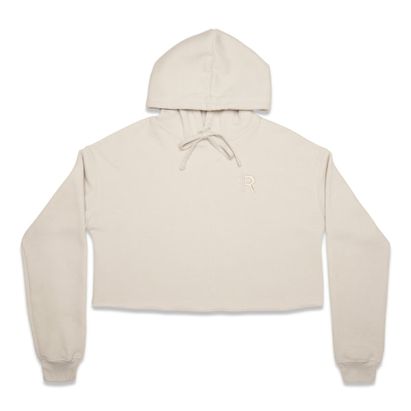Front of Rapteez® OG Logo Cropped Hoodie in Bone