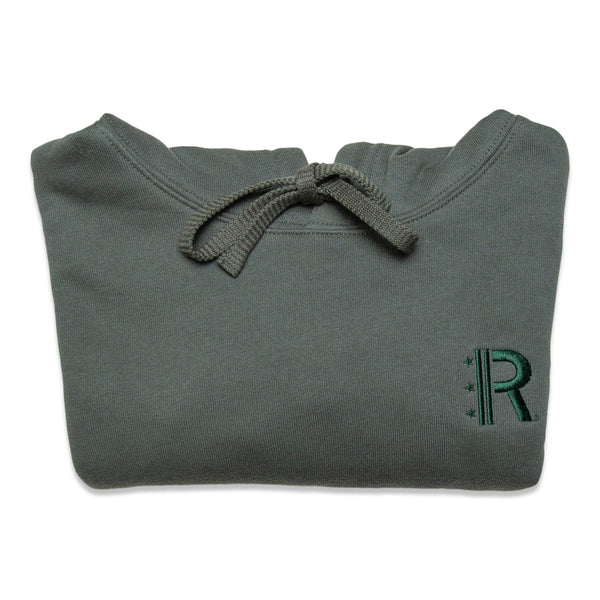 Folded of Rapteez® OG Logo Cropped Hoodie in Olive