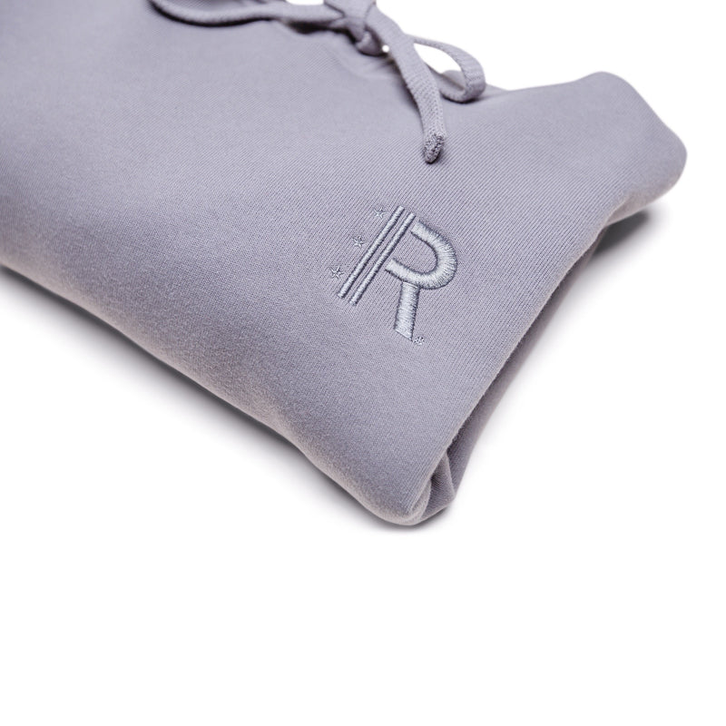 Closeup of Rapteez® OG Logo Cropped Hoodie in Smoke