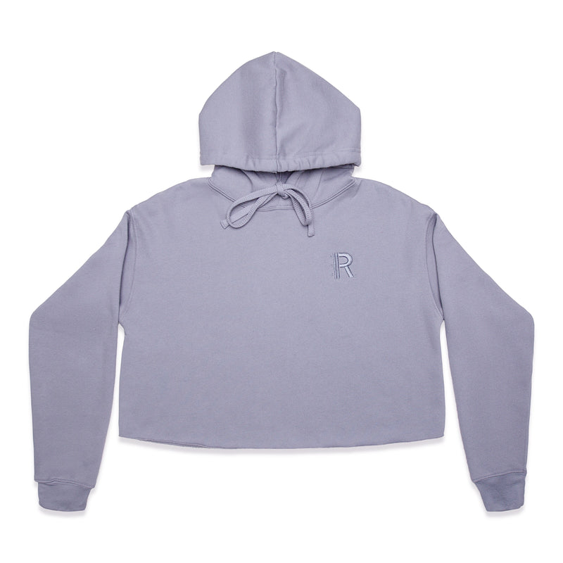 Front of Rapteez® OG Logo Cropped Hoodie | Smoke