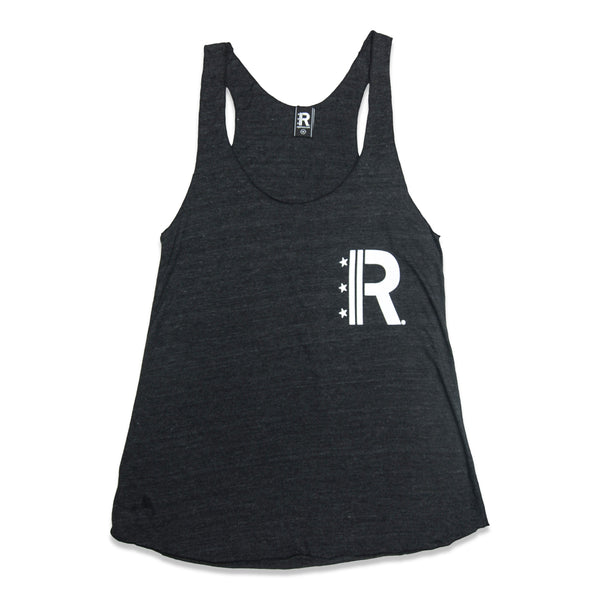 Front of Black Racerback Tank with Rapteez® OG Logo printed in white on left chest