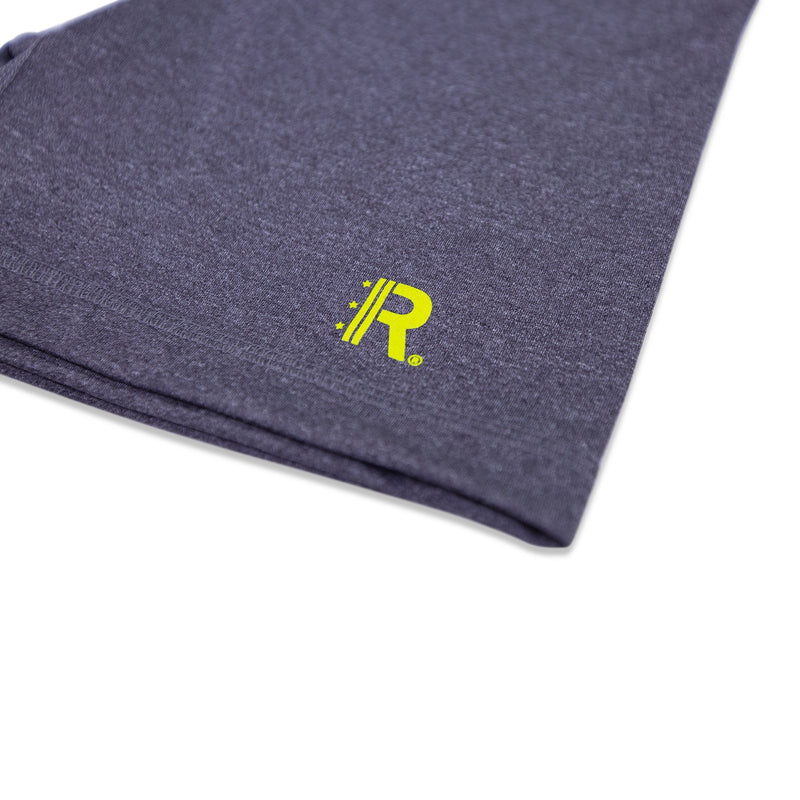 Closeup of Rapteez® OG Logo print in neon yellow on Workout Shorts in Graphite