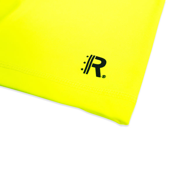 Closeup of Rapteez® OG Logo print in black on Workout Shorts in Neon Yellow