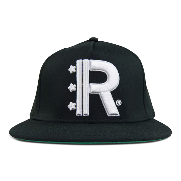 Black Snapback Hat featuring Rapteez® OG Logo in raised embroidery in white on front