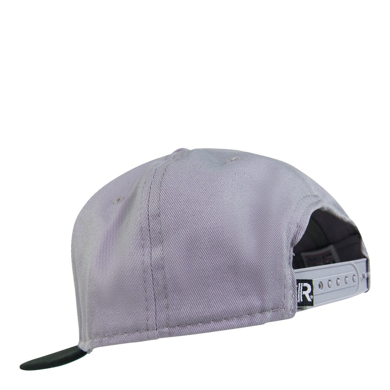 Back of Grey Snapback Hat featuring adjustable snapback closure