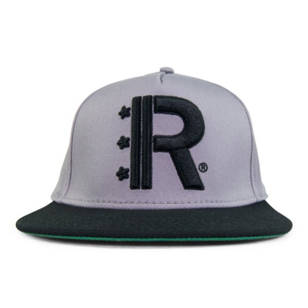 Grey Snapback Hat featuring Rapteez® OG Logo in raised embroidery in black on front