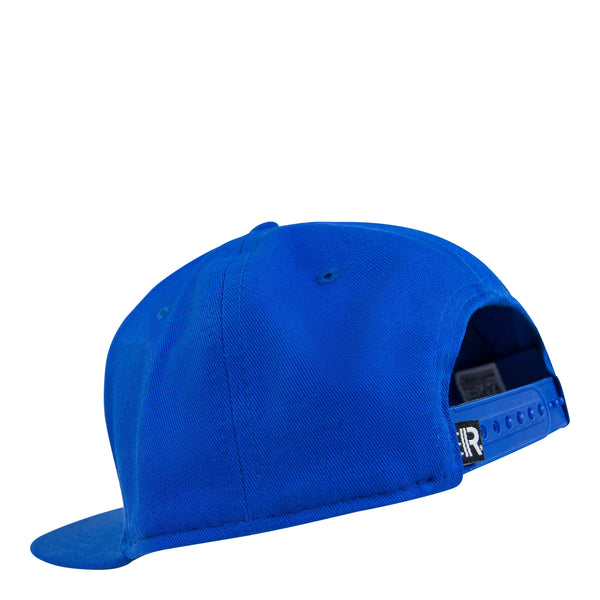 Back of Royal Blue Snapback Hat featuring adjustable snapback closure