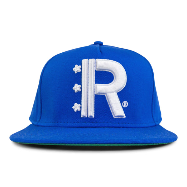 Royal Blue Snapback Hat featuring Rapteez® OG Logo in raised embroidery in white on front