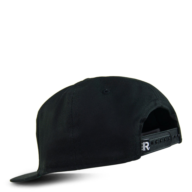 Back of Black Snapback Hat featuring adjustable snapback closure
