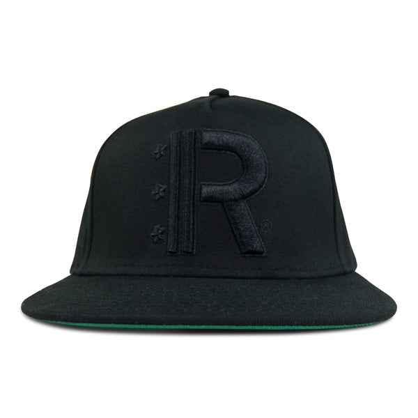 Black Snapback Hat featuring Rapteez® OG Logo in raised embroidery in black on front