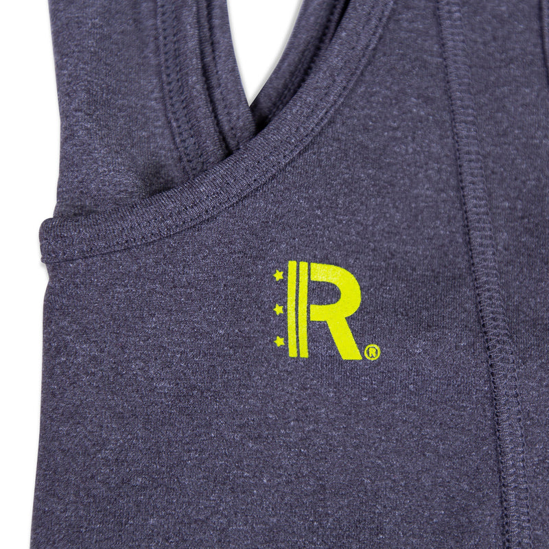Closeup of Rapteez® OG Logo printed in Neon Yellow on Graphite Sports Bra