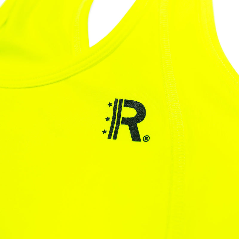 Closeup of Rapteez® OG Logo printed in Black on Neon Yellow Sports Bra