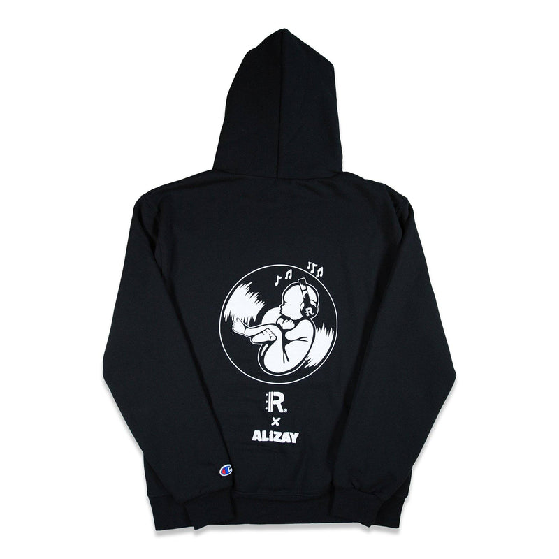 Back of Black Champion Hoodie with graphic printed on full back