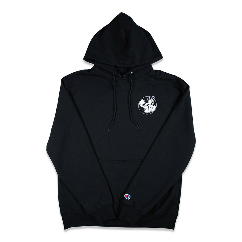 Front of Black Champion Hoodie with graphic printed on left chest