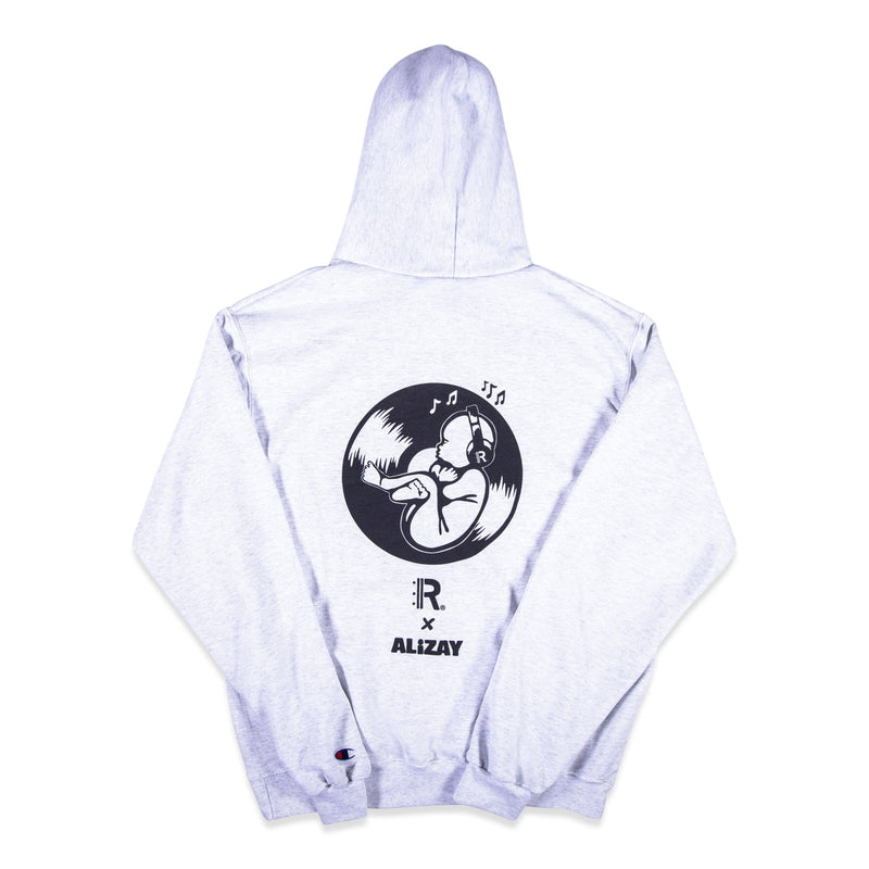 Back of Silver Champion Hoodie with Rapteez® x Alizay graphic printed on full back