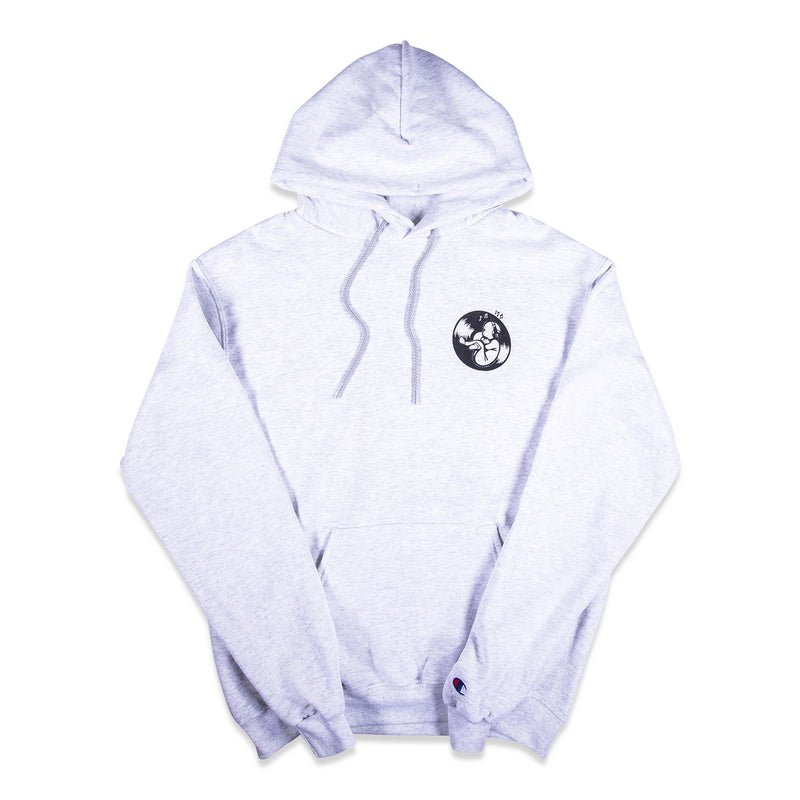 Front of Silver Champion Hoodie with graphic printed on left chest