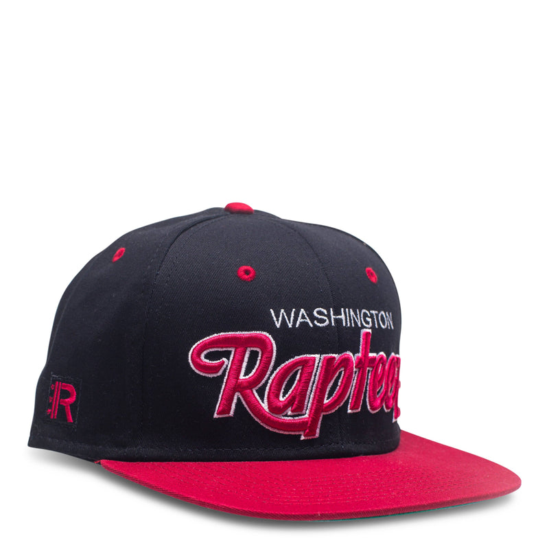 A black 6-panel hat featuring the Rapteez® Logo embroidered on right