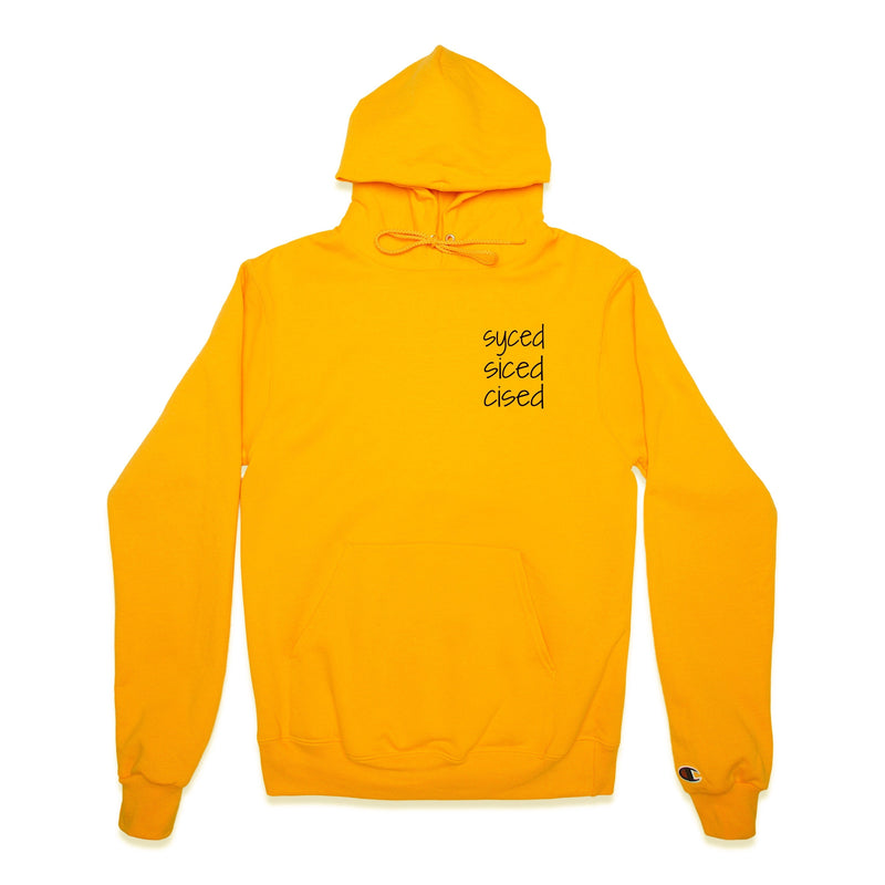 Front of Syced Siced Cised Champion® Hoodie in Gold