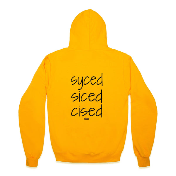 Back of Syced Siced Cised Champion® Hoodie in Gold