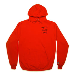 Front of Syced Siced Cised Champion® Hoodie in Orange