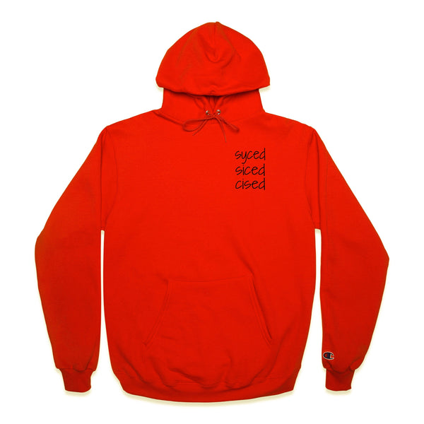 Front of Orange Champion Hoodie with syced siced cised printed on left chest