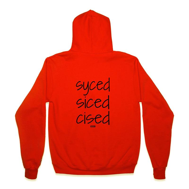 Back of Syced Siced Cised Champion® Hoodie in Orange