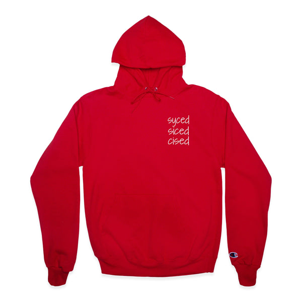 Front of Red Champion Hoodie with syced siced cised printed on left chest