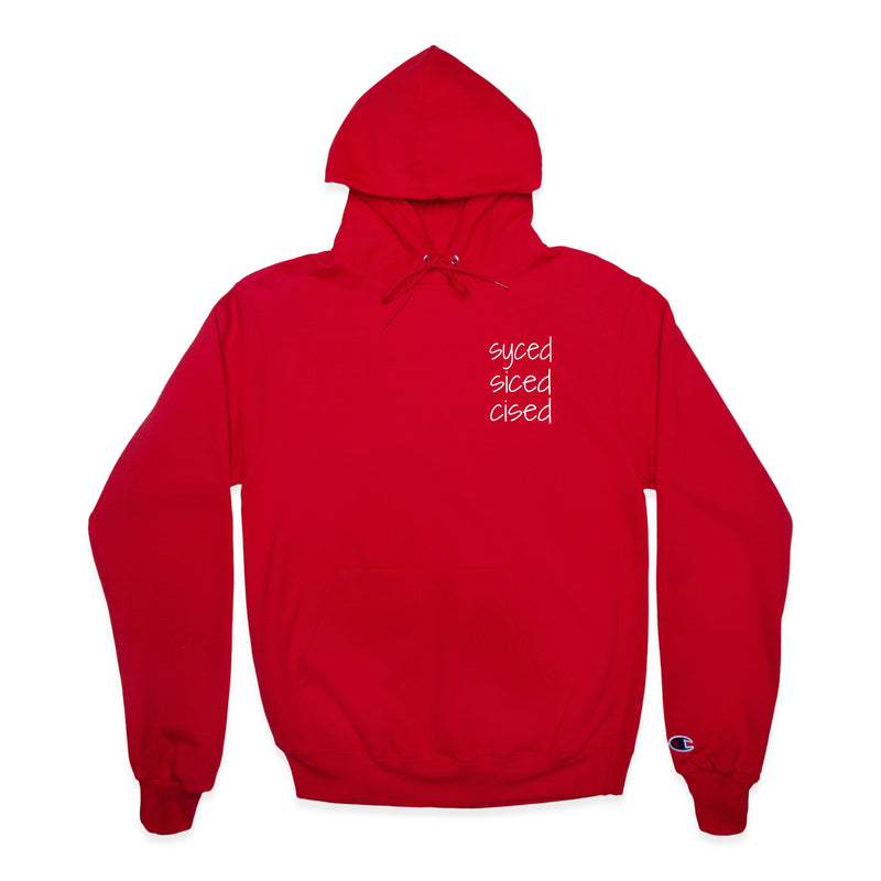 Front of Syced Siced Cised Champion® Hoodie in Red
