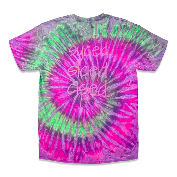 Back of a Purple, Green and Pink Tie Dye Tee with Syced graphic printed in hot pink on full back.