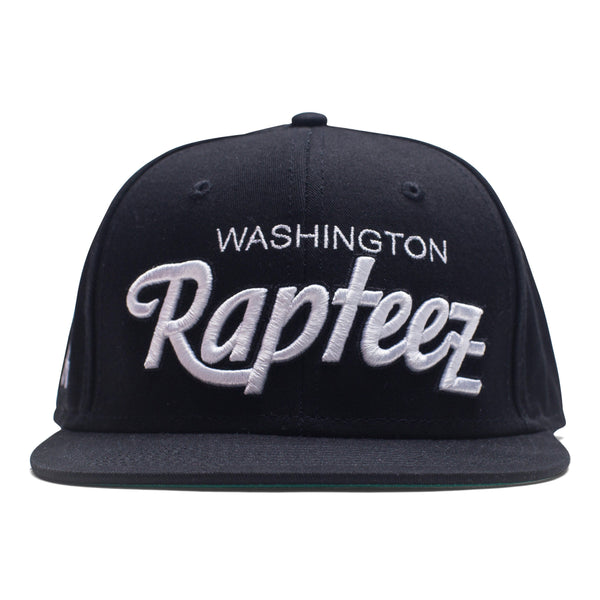 "A black 6-panel hat featuring the ""Washington Rapteez® in flat and raised embroidery on front"