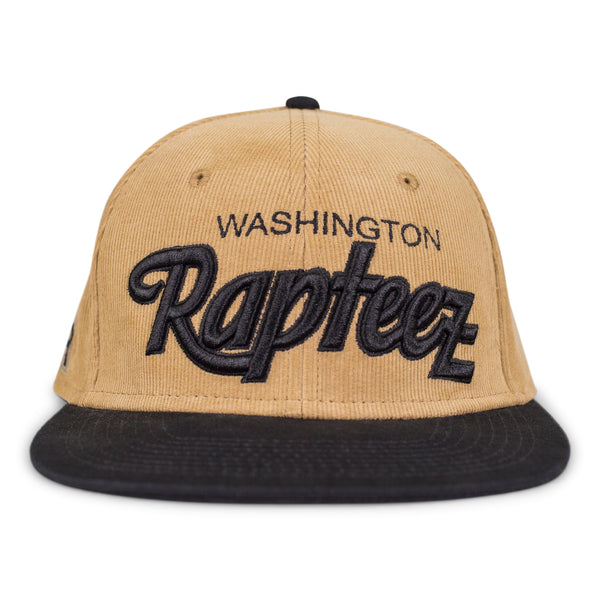 "A 6-panel corduroy hat featuring the ""Washington Rapteez® in flat and raised embroidery on front"
