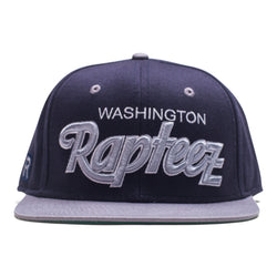 "A navy 6-panel hat featuring the ""Washington Rapteez® in flat and raised embroidery on front"