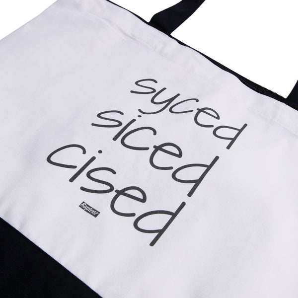 Syced Siced Cised Tote Bag | Black