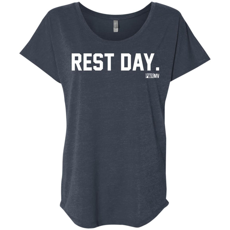 Rest Day Logo. Ladies' Triblend Dolman