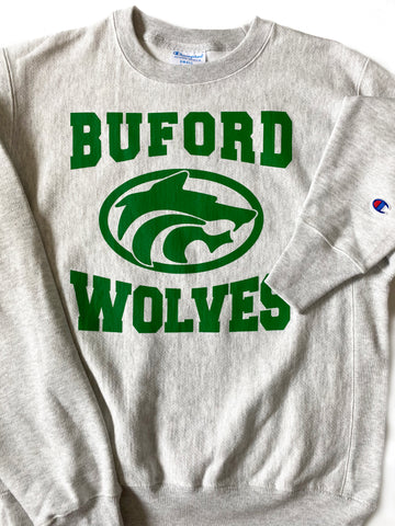 Champion Crew Grey Buford Wolves Sweatshirt Adult