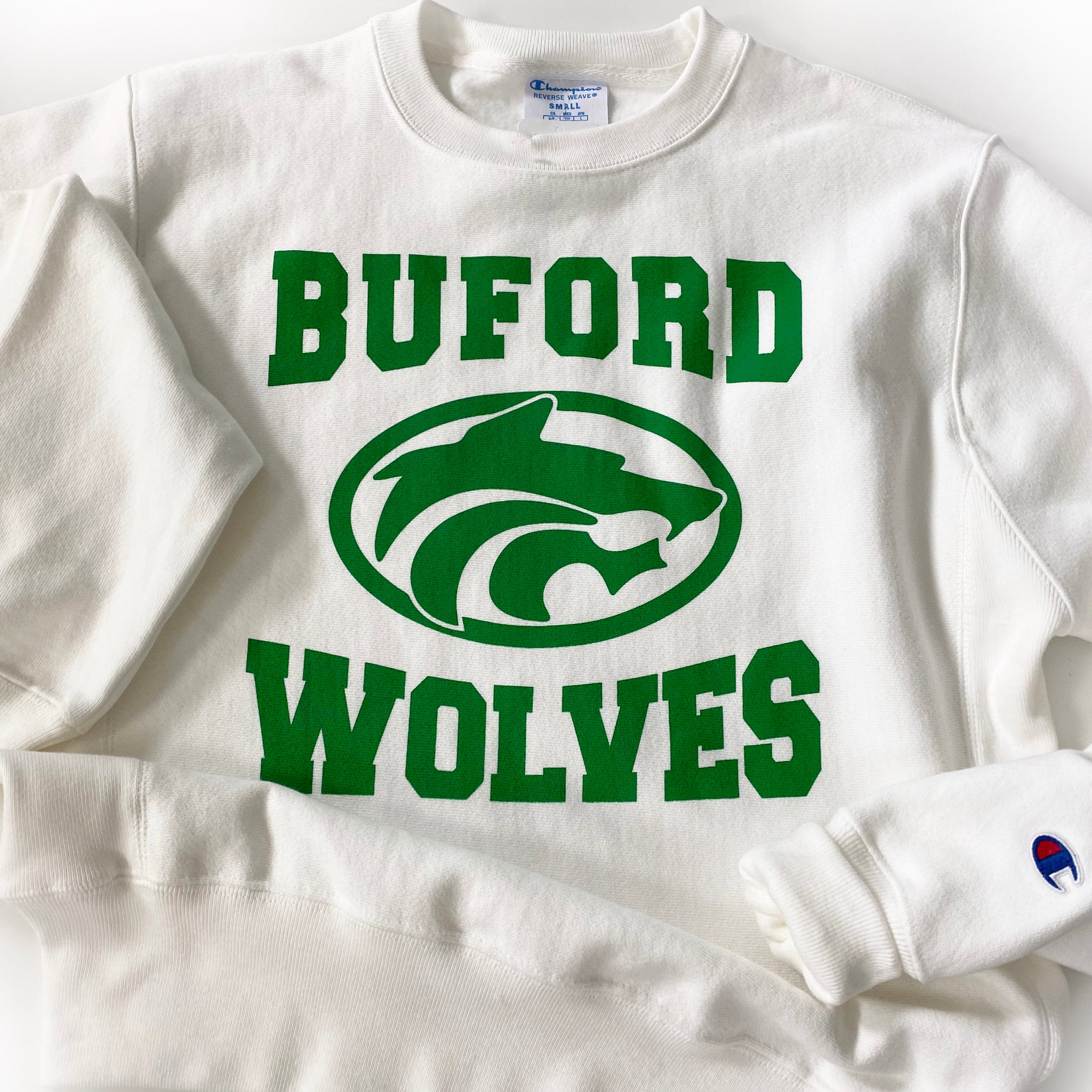 Champion Crew White Buford Wolves Sweatshirt Adult
