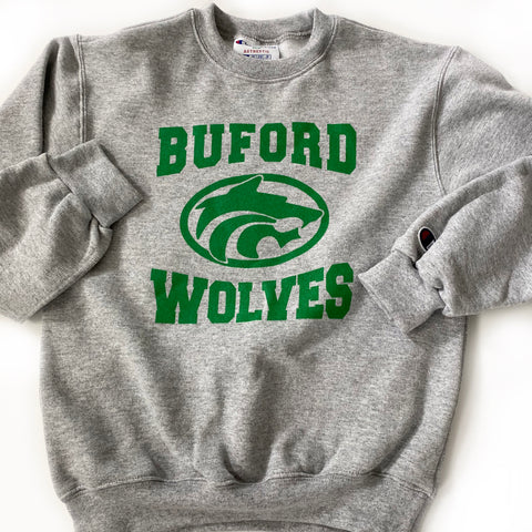 SALE Champion Crew Grey Buford Wolves Sweatshirt Youth