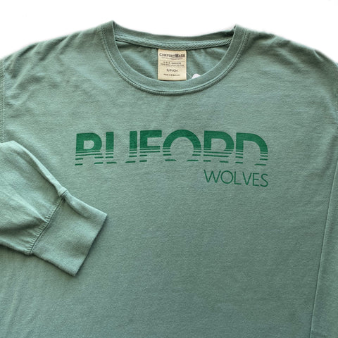 SALE Buford Wolves Light Green Comfort Wash Long Sleeve Adult T-shirt