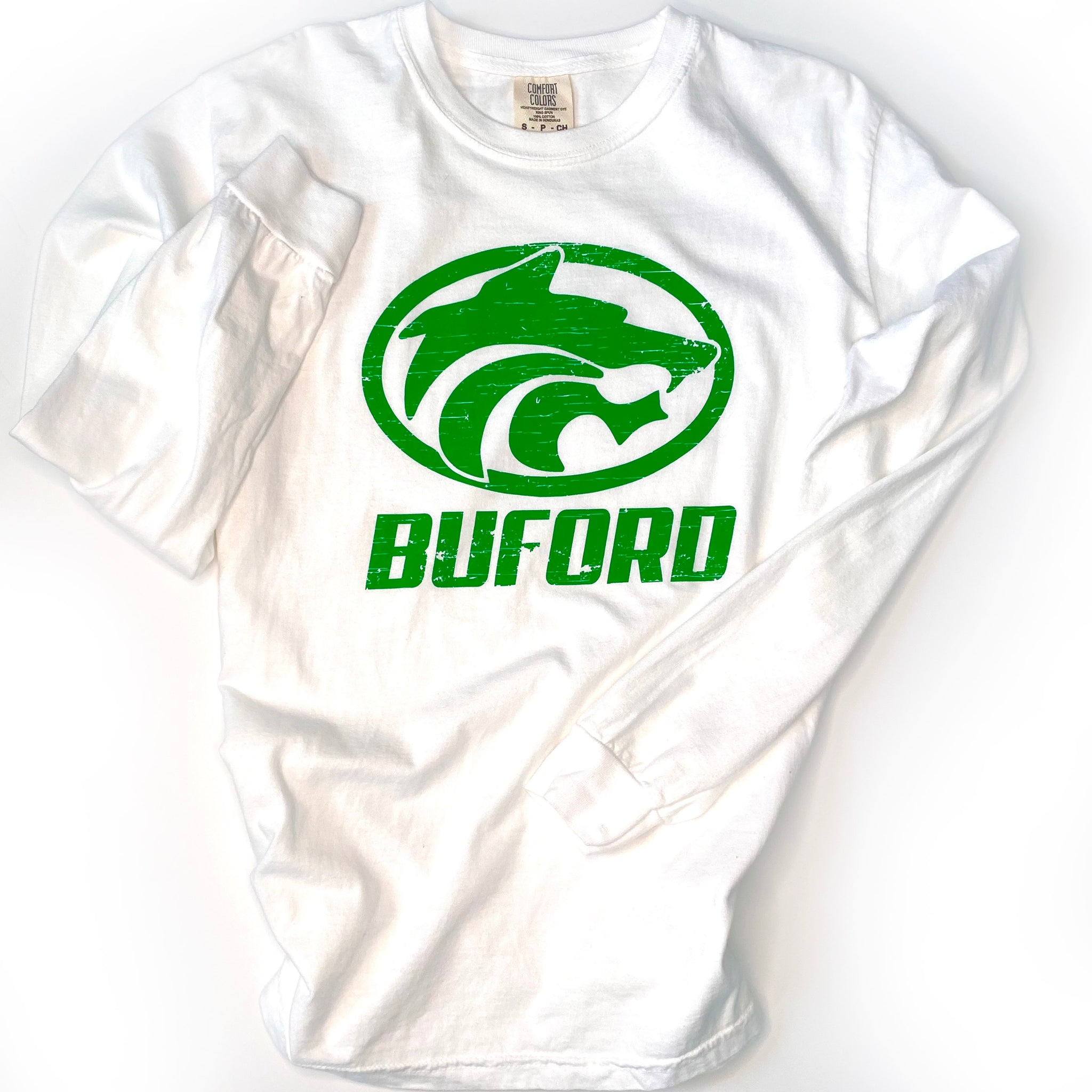SALE Buford Wolves Long Sleeve White Comfort Colors T-shirt - Adult