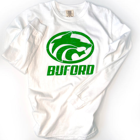 Buford Wolves Long Sleeve White Comfort Colors T-shirt - Adult