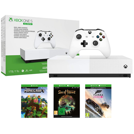 Xbox One S 1TB All-Digital - Minecraft / Sea of Thieves / Forza Horizon 3