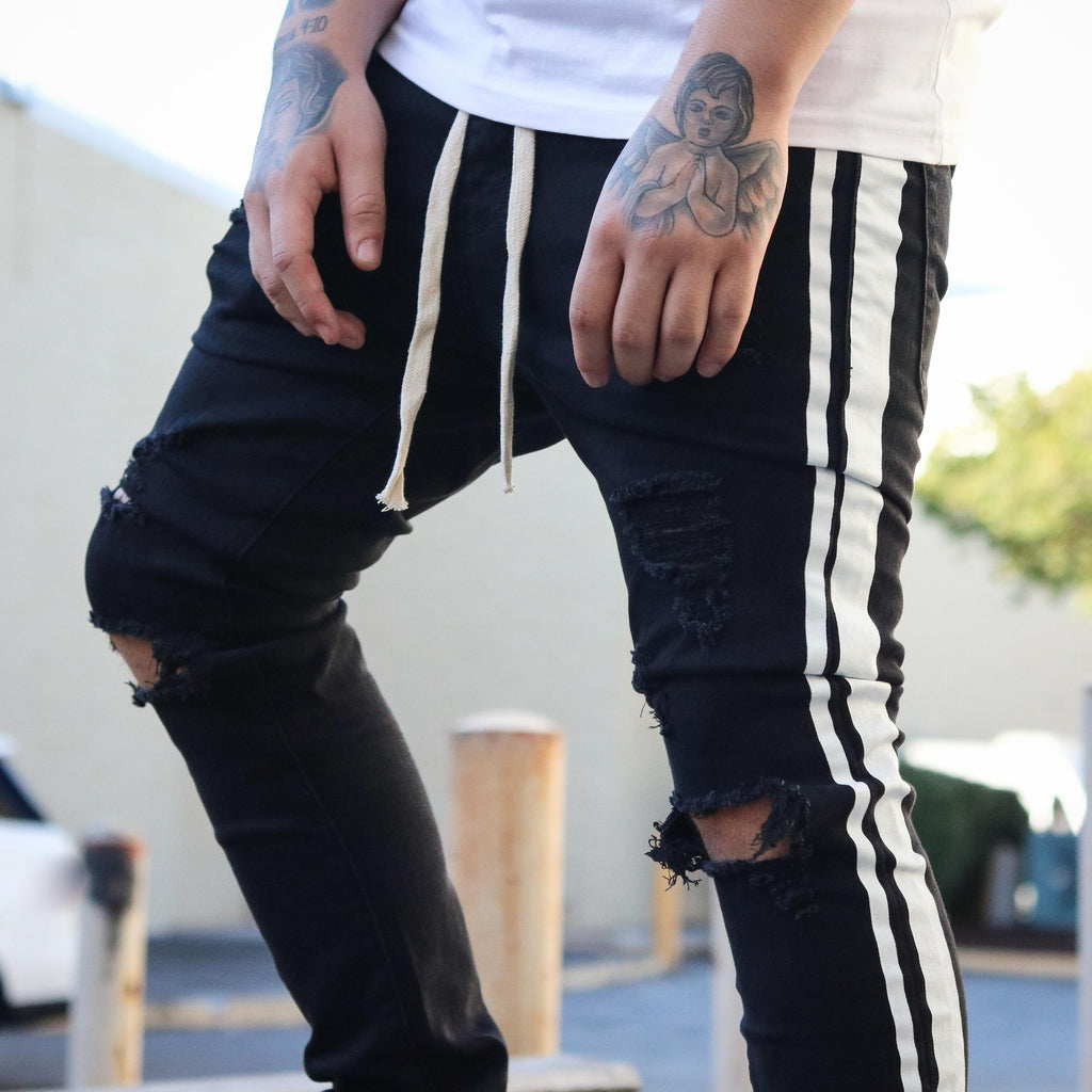 TWO STRIPED DENIM BLACK