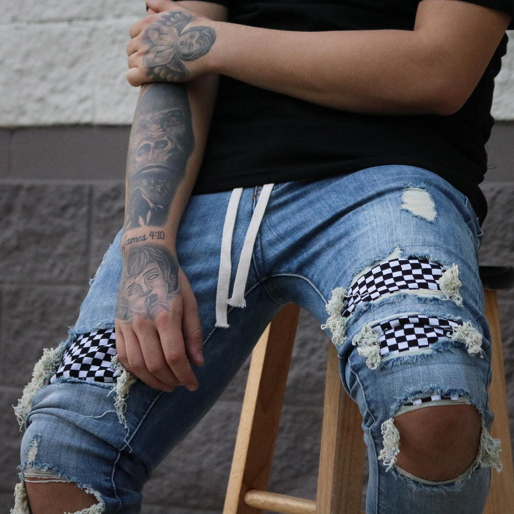 CHECKERED DENIM LIGHT WASH
