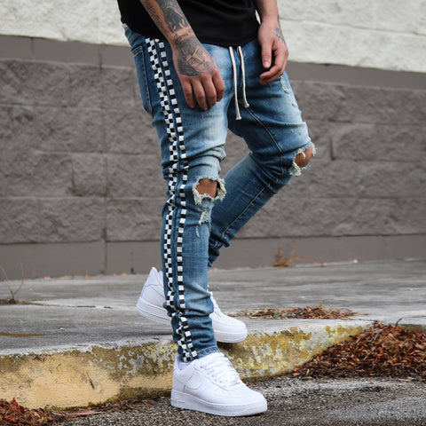 SIDE CHECKERS DENIM LIGHT WASH
