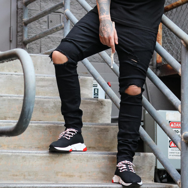 RIPPED DENIM BLACK