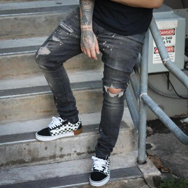 SPLATTERED DENIM BLACK