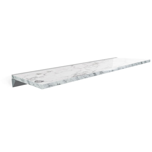 White Marble Floating Shelf in High Gloss, Modern, Wall Mounted, Easy to Install