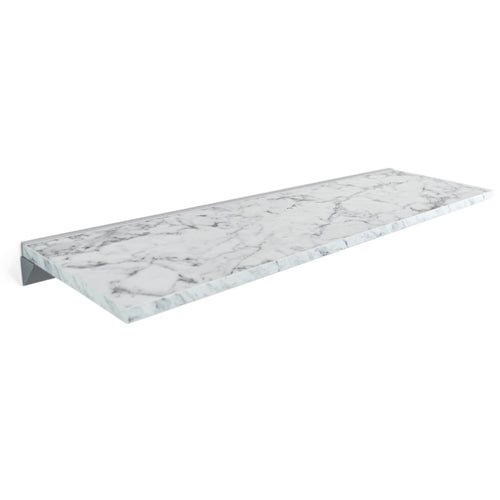 White Marble Floating Shelf in Silk Matt, Modern, Wall Mounted, Easy to Install