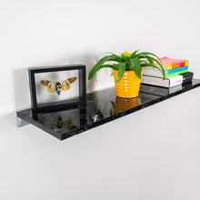 Black Marble Floating Shelf in Silk Matt, Modern, Wall Mounted, Easy to Install