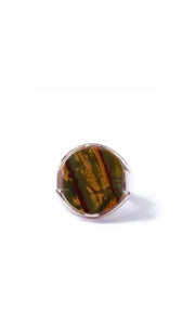 Soavi Ring with Cherry Creek Jasper, Olive and Mandarin